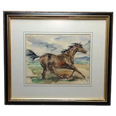 Horse Watercolor J Louis Lundean Mid 20th c