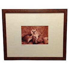 Vintage Dog Photograph Marquetry Wood Frame