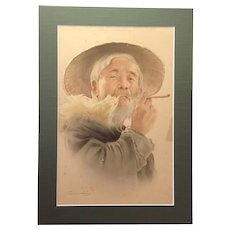 Japanese Watercolor Portrait Man with Pipe Early 19th Signed