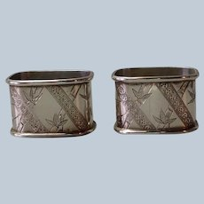 Pair of English Bamboo Aesthetic Sterling Napkin Rings 1880's
