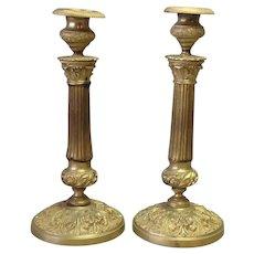 "Pair French Empire Gilt Bronze Candlesticks 11"""