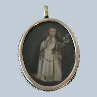 Early Religious Pendant Silver Frame Santo Hand Painted Nun Jesus