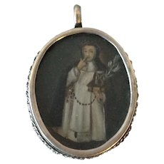 Early Religious Pendant Silver Frame Santo Hand Painted Nun Jesus
