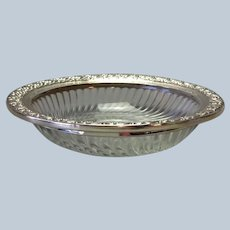 Sterling and Glass Serving Dish Webster 6""