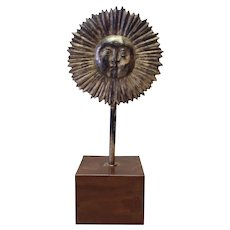 Sun Sculpture Silvered Bronze Antique 12""