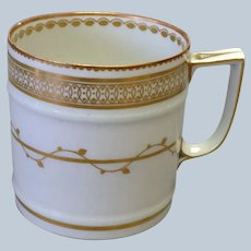 Duesbury Derby Mug Gold on White Early 19th c.