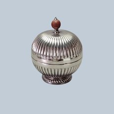 English Silver Plate Covered Ribbed Box