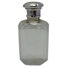 English Sterling Scent Bottle Cut Crystal