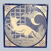 Fox and Bat Tile England 1872