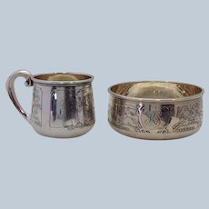 Kerr Children of the World Sterling Child's Cup and Bowl 19th c.