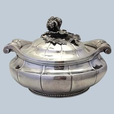 French 950 Silver Covered Vegetable Dish with Fruit Finial