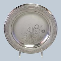 Whiting Strawberry Butter Plate Aesthetic Movement Sterling Circa 1880's