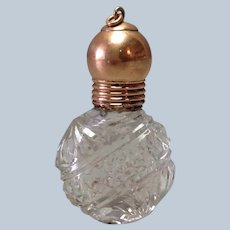 Chatelaine Gold Perfume Bottle Cut Glass 14K