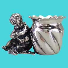 Victorian Child Toothpick Holder Derby Silverplate Seated Toddler