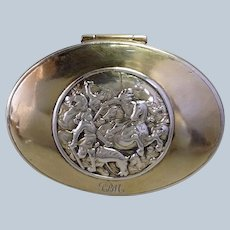 Continental Snuff Box Sterling High Relief Battle Scene Antique