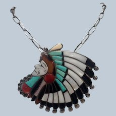 """Zuni Chief Headdress Bolo 3"""" Large Turquoise Sterling  MOP"""