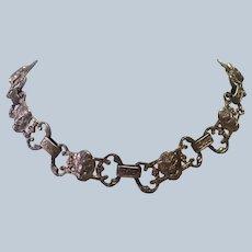 Italian Renaissance 800 Silver Face Choker Necklace