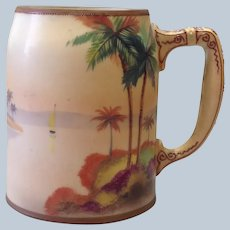 Nippon Hand Painted Beer Stein with Moriage Handle
