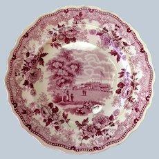 "Jackson's Warranted Plum Staffordshire Plate 7 3/4"""