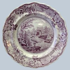 """Historic Staffordshire Bakers Falls Plate Jacksons Warranted 8 7/8"""""""