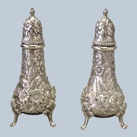 "Kirk Repousse Sterling Salt and Pepper Shakers 5"" Hand Decorated"