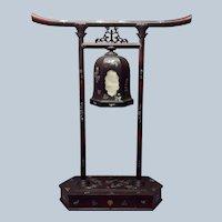 "Japanese Torii Lamp Mother of Pearl Meiji 25"""