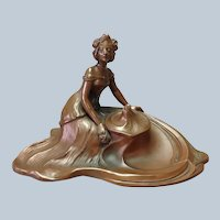 Art Nouveau Reclining Woman Waves Inkwell