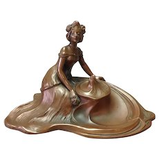 Art Nouveau Reclining Woman Waves Inkwell