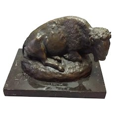 Seated Bison Bronze George Dabich Large