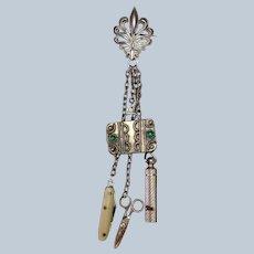 Doll Chatelaine Sterling Scissors Knife Whistle