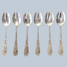 Six Stieff Rose Sterling Ice Cream Spoons Group 6