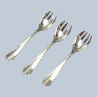 Group of 3 Tiffany Marquise Sterling Silver Ice Cream Forks No Mono