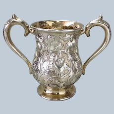 Howard Floral Repousse Loving Cup Sterling Trophy 33 ounces