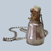 Horn Toasting Jigger Sterling on Chain  Italy 2 7/8""