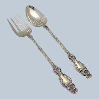 "Lily Whiting Salad Set Serving Fork & Spoon Oversized 11 1/2"" Solid Sterling"