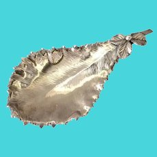 Gorham Holly Leaf Sterling Dish Shell Feet 19th c
