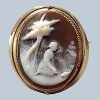 Scenic Girl Cameo Reversible Brooch Late 19th c