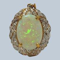 Opal and Diamond 18k Pendant or Enhancer 0.65 cts