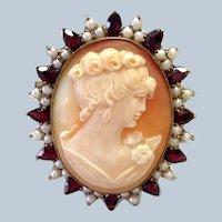 Garnet and Pearl Cameo Brooch Pendant Silver Gilt