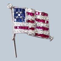 "American Flag 18k Pin Diamonds Rubies and Sapphires 1"""