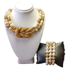 Franklin Mint Mary McFadden Baroque Glass Pearl Necklace and Bracelet