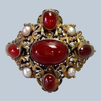 French Carnelian and Pearl Bracelet Gilt Silver Antique