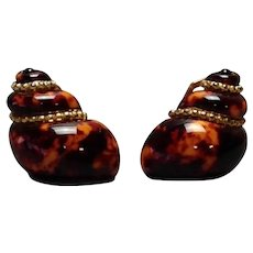 Enamel on Sterling Nautilus Shell Clip on Earrings