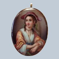 Portrait Lady Pendant 14K on Porcelain 19th c.