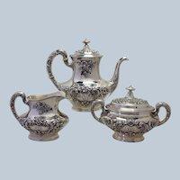 Gorham Buttercup Coffee Set 3pc. Sterling Circa 1899 Mono