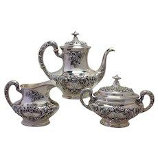 Gorham Buttercup Coffee Set Three Piece Sterling Circa 1899 Mono