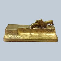 Gilt Bronze Dachshund Large Inkstand by F. Gornic  12 5/8""