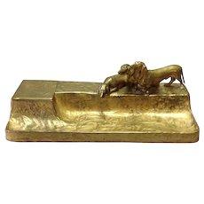 "Gilt Bronze Dachshund Large Inkstand by F. Gornic  12 5/8"""
