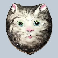 "Cat Face Limoges Box Figural 3"""