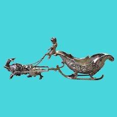 Cherub Driving Sleigh Ram German 800 Silver Circa 1890